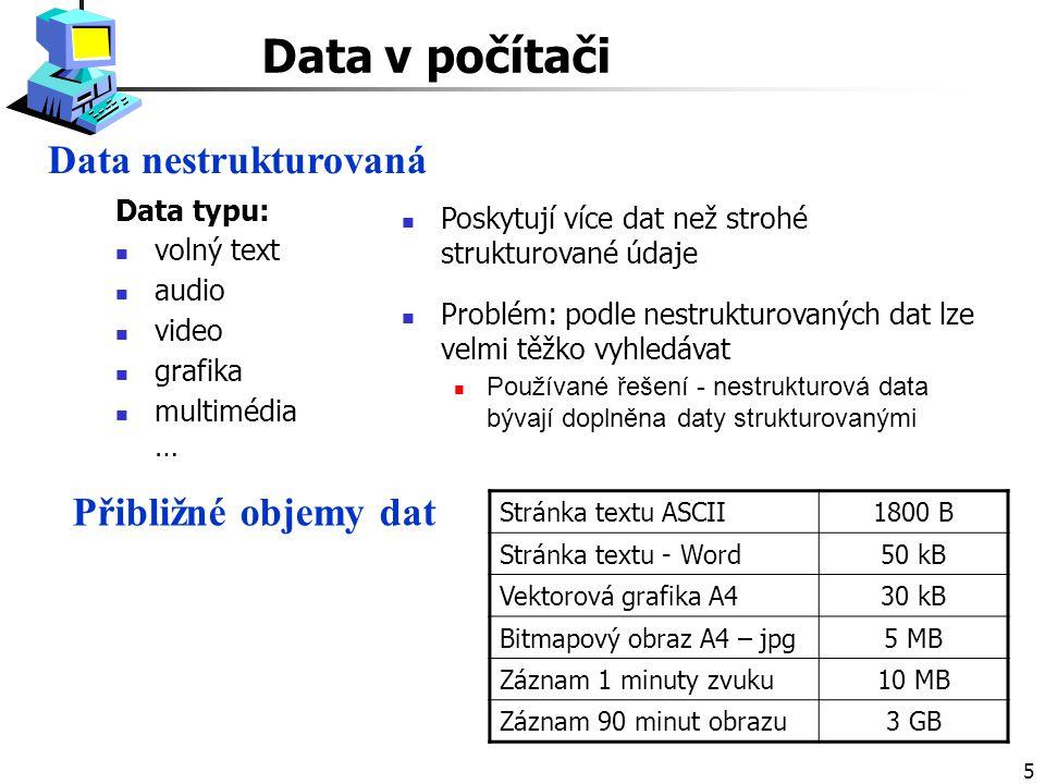 Data v počítači Data nestrukturovaná Přibližné objemy dat Data typu: