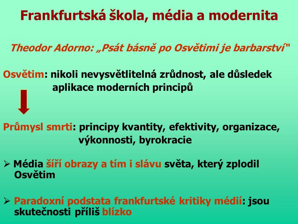 Frankfurtská škola, média a modernita