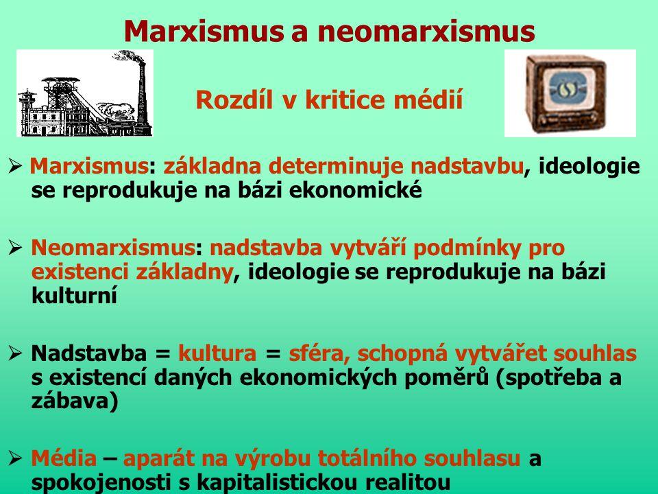 Marxismus a neomarxismus Rozdíl v kritice médií