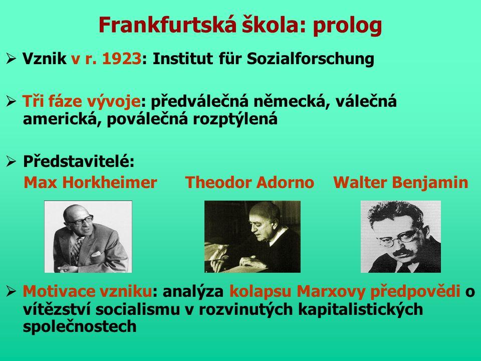 Frankfurtská škola: prolog