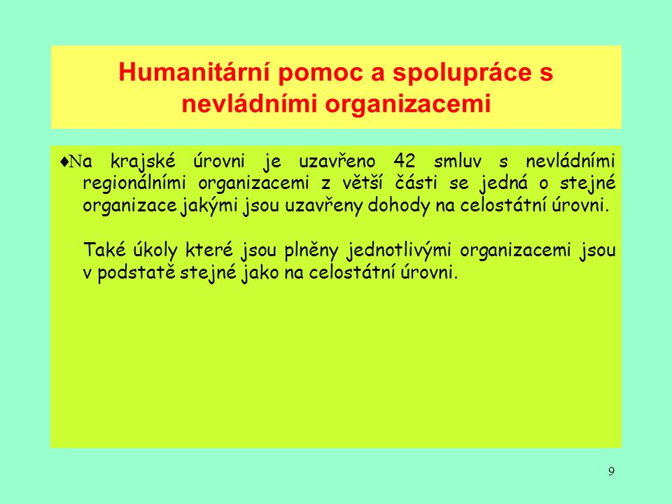 Humanitární pomoc a spolupráce s nevládními organizacemi