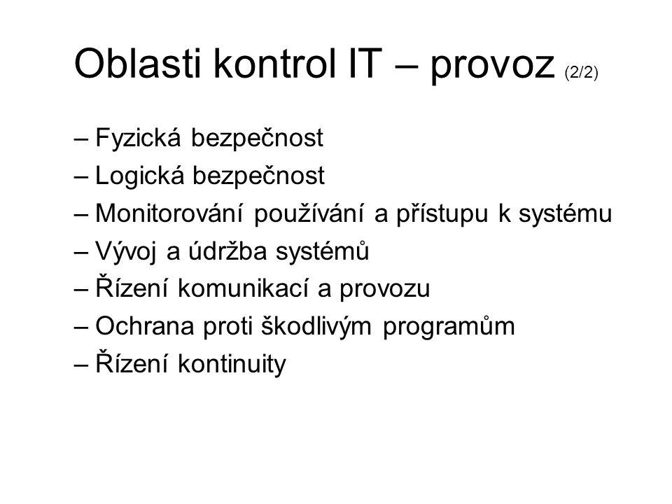 Oblasti kontrol IT – provoz (2/2)