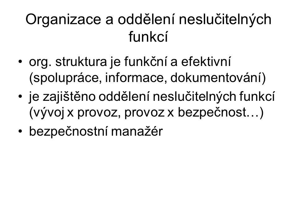 Organizace a oddělení neslučitelných funkcí
