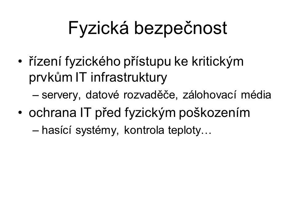 Fyzická bezpečnost řízení fyzického přístupu ke kritickým prvkům IT infrastruktury. servery, datové rozvaděče, zálohovací média.