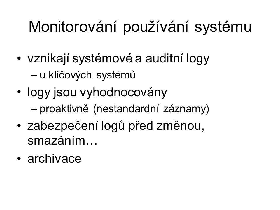 Monitorování používání systému