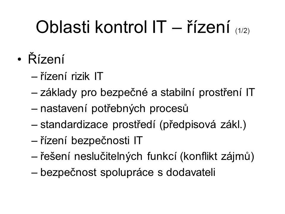 Oblasti kontrol IT – řízení (1/2)