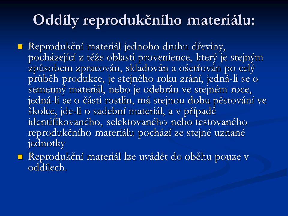 Oddíly reprodukčního materiálu: