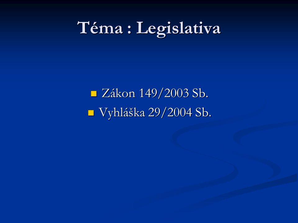 Téma : Legislativa Zákon 149/2003 Sb. Vyhláška 29/2004 Sb.