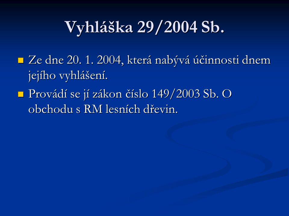Vyhláška 29/2004 Sb. Ze dne 20. 1. 2004, která nabývá účinnosti dnem jejího vyhlášení.