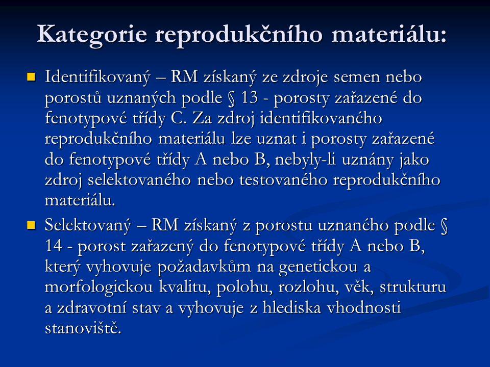 Kategorie reprodukčního materiálu: