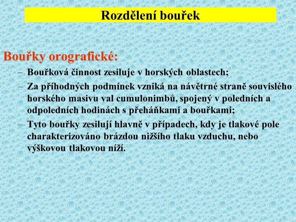 Rozdělení bouřek Bouřky orografické: