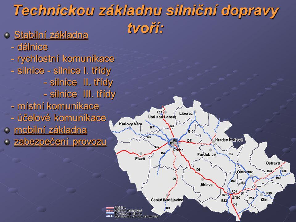 Technickou základnu silniční dopravy tvoří:
