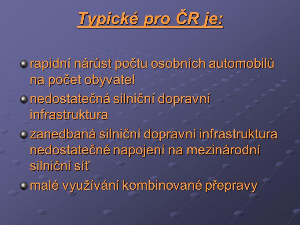 Typické pro ČR je: rapidní nárůst počtu osobních automobilů na počet obyvatel. nedostatečná silniční dopravní infrastruktura.