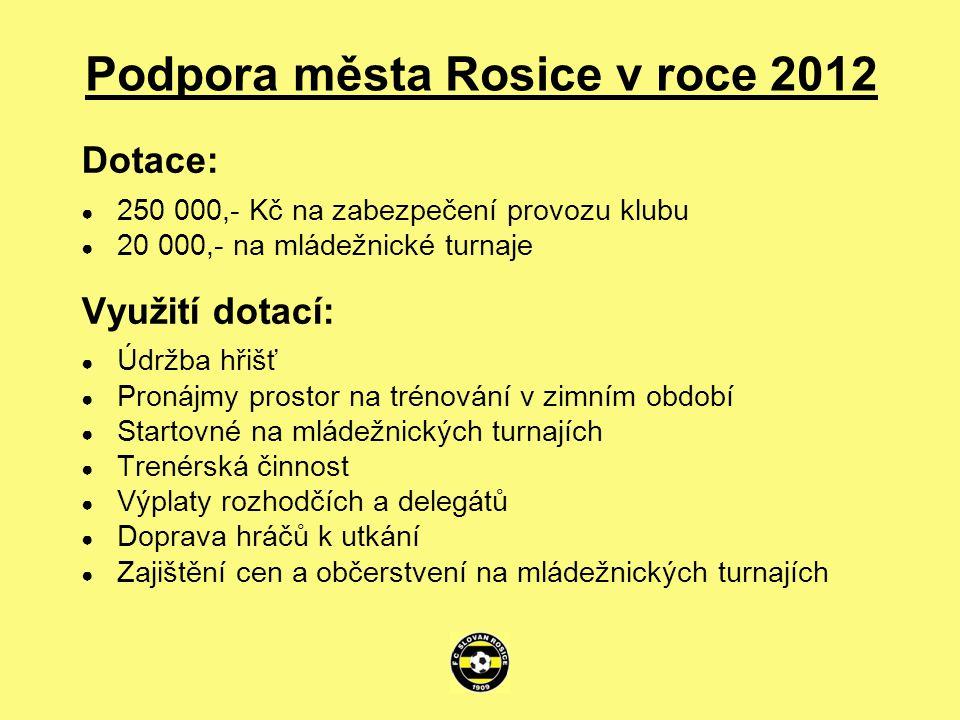Podpora města Rosice v roce 2012