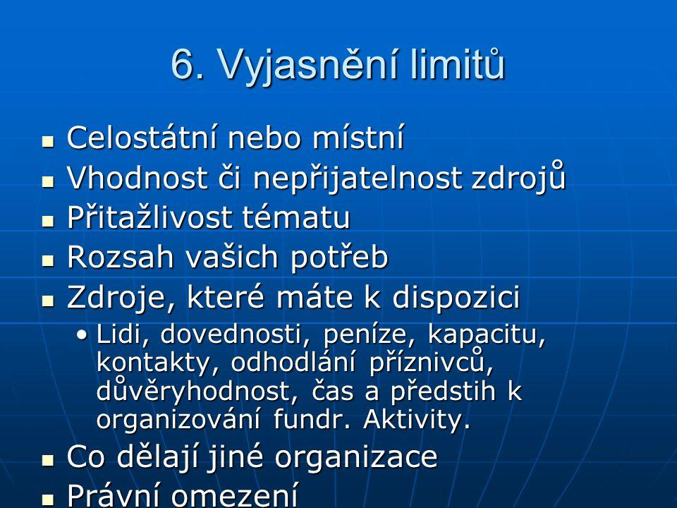 6. Vyjasnění limitů Celostátní nebo místní
