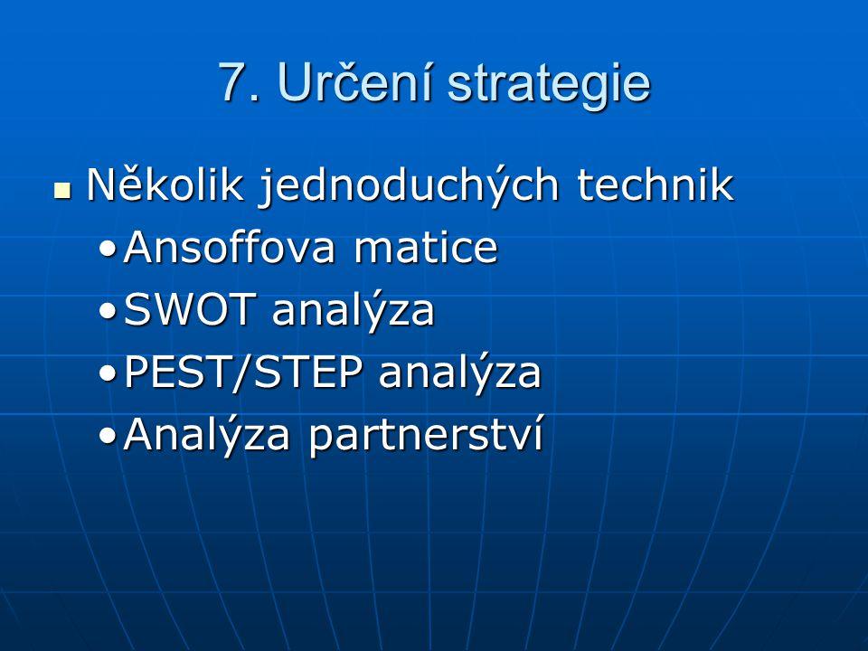 7. Určení strategie Několik jednoduchých technik Ansoffova matice