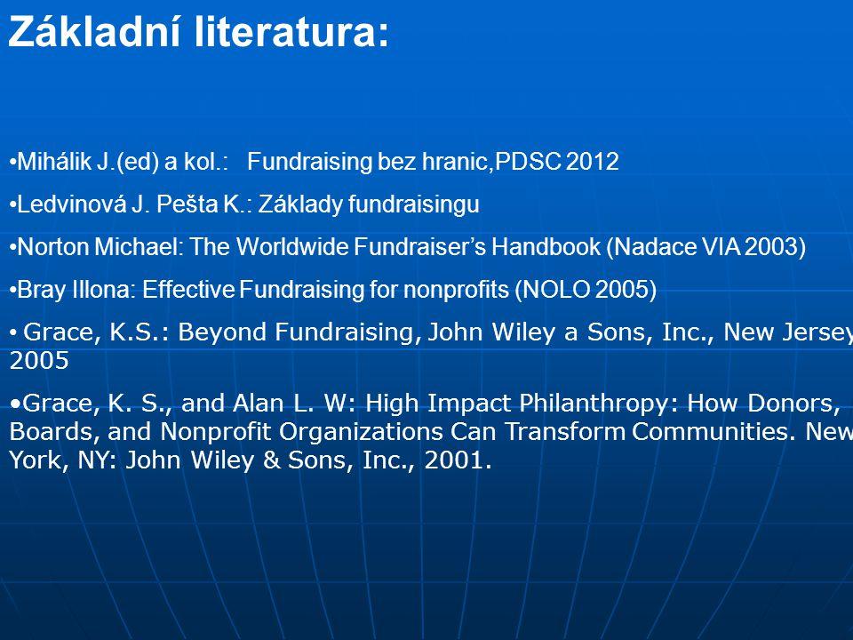 Základní literatura: Mihálik J.(ed) a kol.: Fundraising bez hranic,PDSC 2012. Ledvinová J. Pešta K.: Základy fundraisingu.