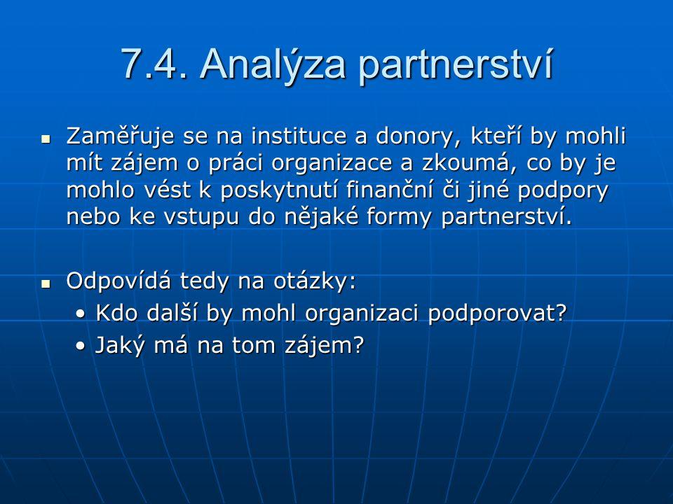 7.4. Analýza partnerství