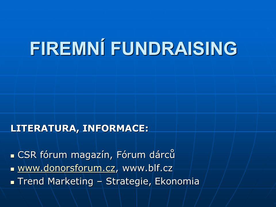 FIREMNÍ FUNDRAISING LITERATURA, INFORMACE: