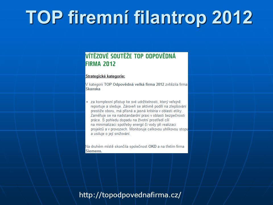 TOP firemní filantrop 2012 http://topodpovednafirma.cz/