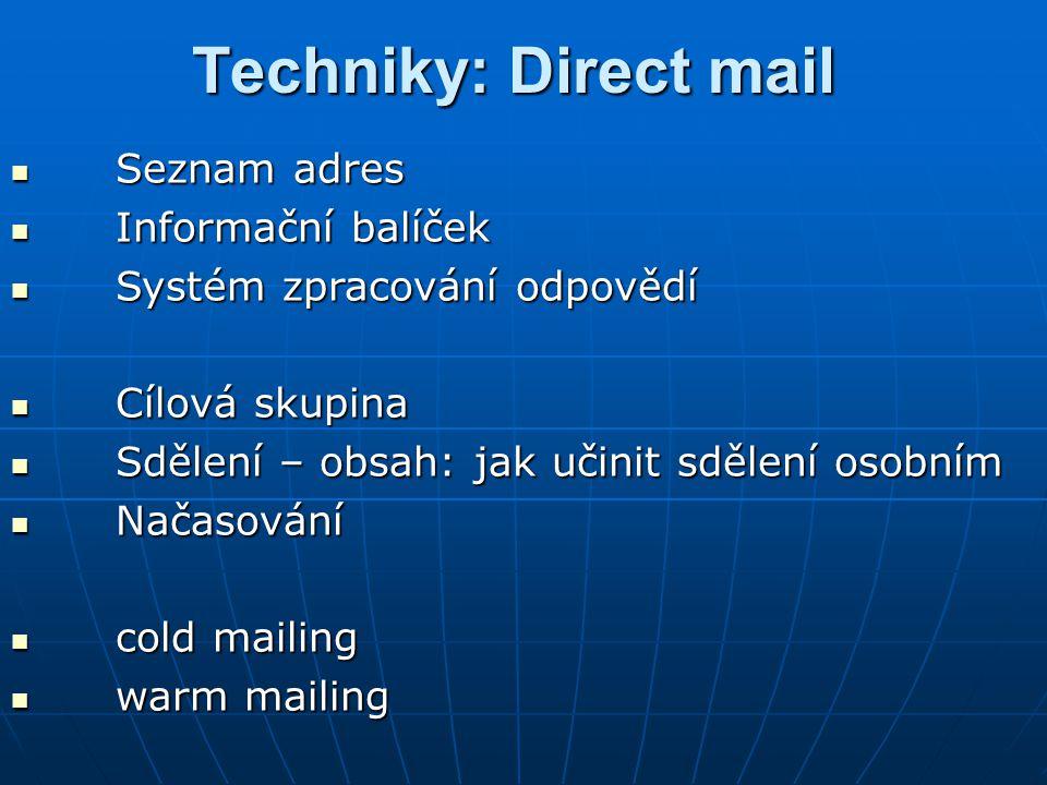Techniky: Direct mail Seznam adres Informační balíček