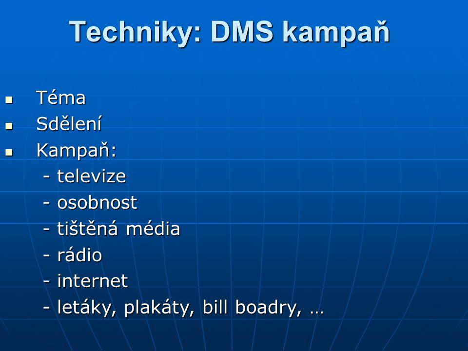 Techniky: DMS kampaň Téma Sdělení Kampaň: - televize - osobnost