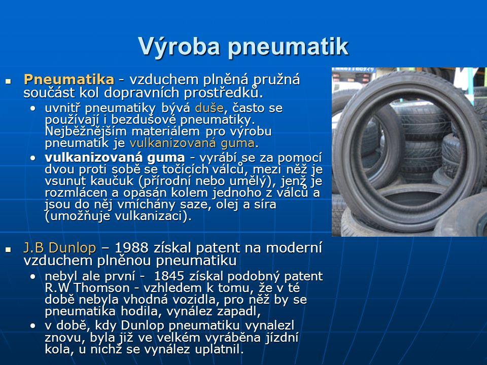 Výroba pneumatik Pneumatika - vzduchem plněná pružná součást kol dopravních prostředků.