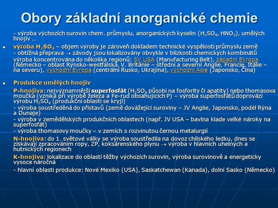 Obory základní anorganické chemie