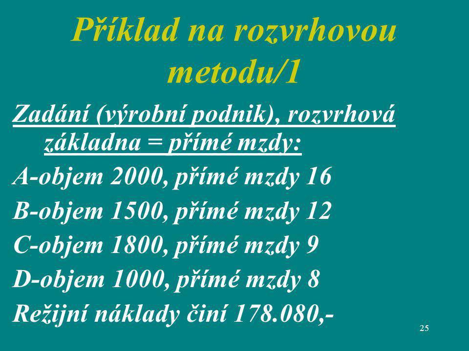 Příklad na rozvrhovou metodu/1