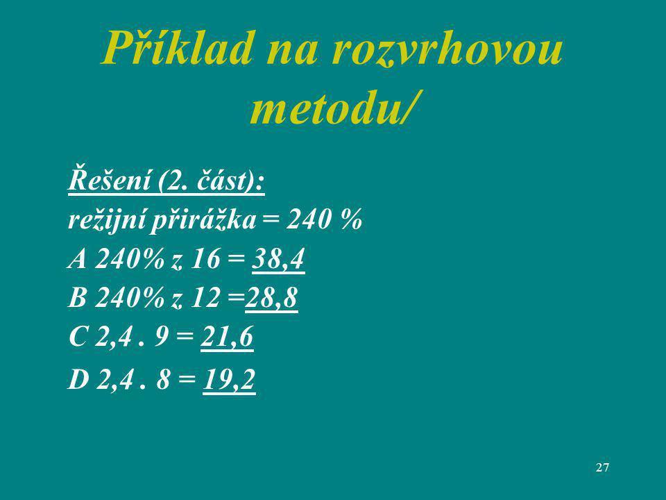 Příklad na rozvrhovou metodu/