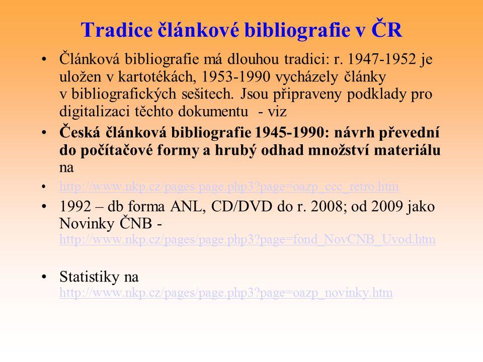 Tradice článkové bibliografie v ČR