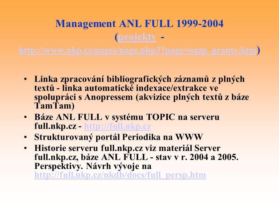 Management ANL FULL 1999-2004 (projekty - http://www. nkp