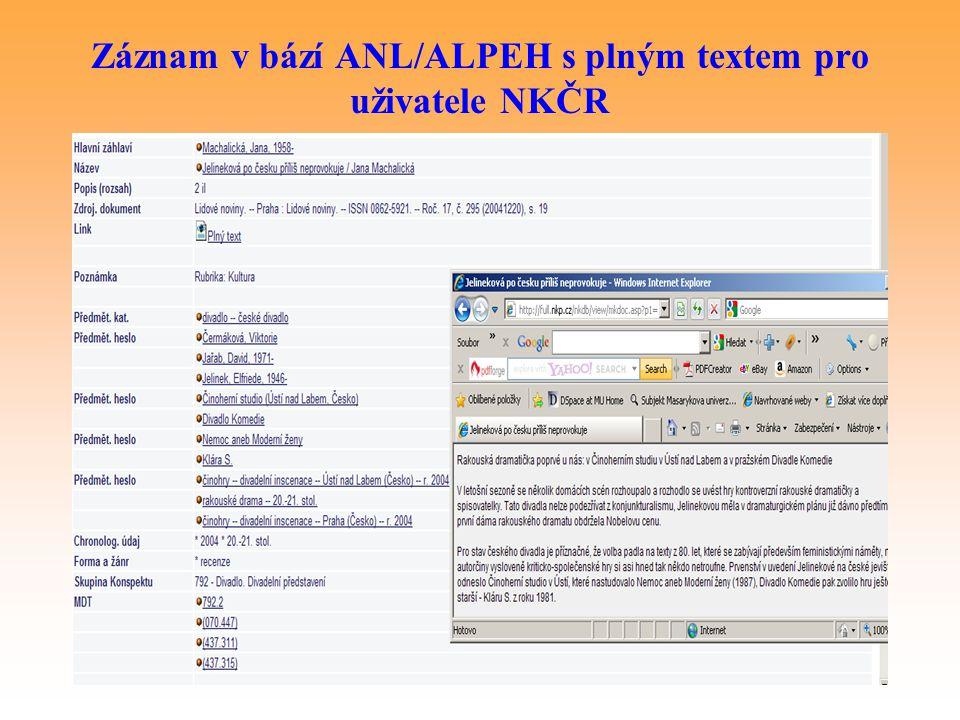 Záznam v bází ANL/ALPEH s plným textem pro uživatele NKČR