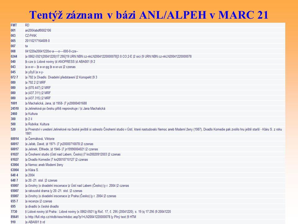 Tentýž záznam v bázi ANL/ALPEH v MARC 21