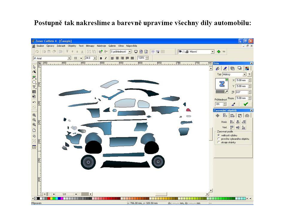 Postupně tak nakreslíme a barevně upravíme všechny díly automobilu: