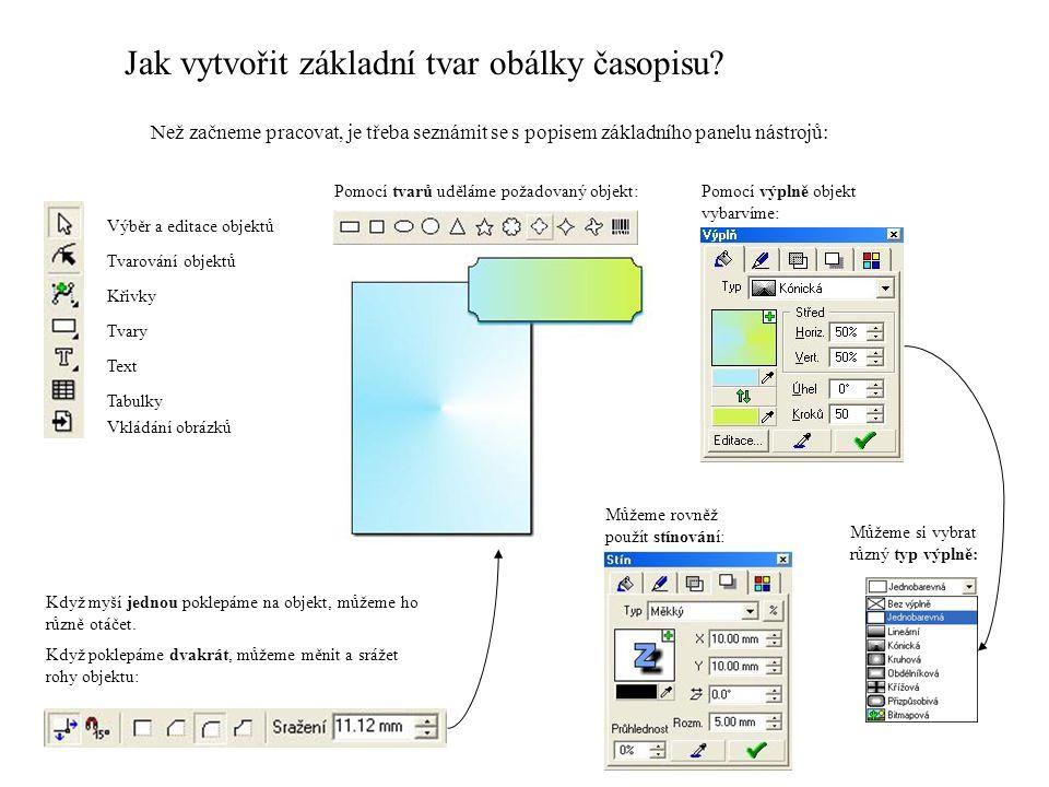 Jak vytvořit základní tvar obálky časopisu