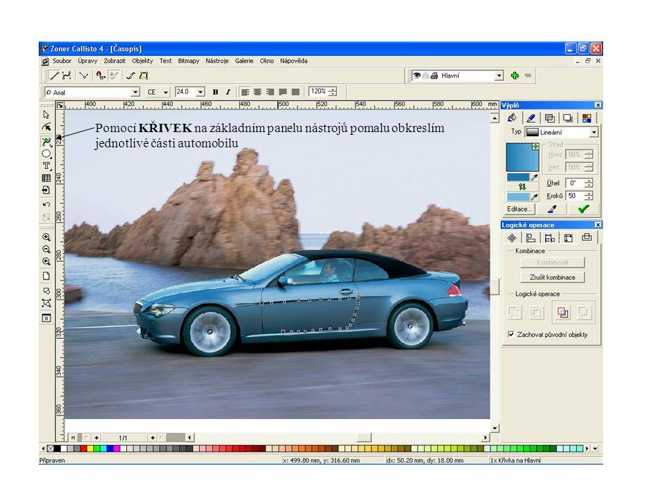 Pomocí KŘIVEK na základním panelu nástrojů pomalu obkreslím jednotlivé části automobilu