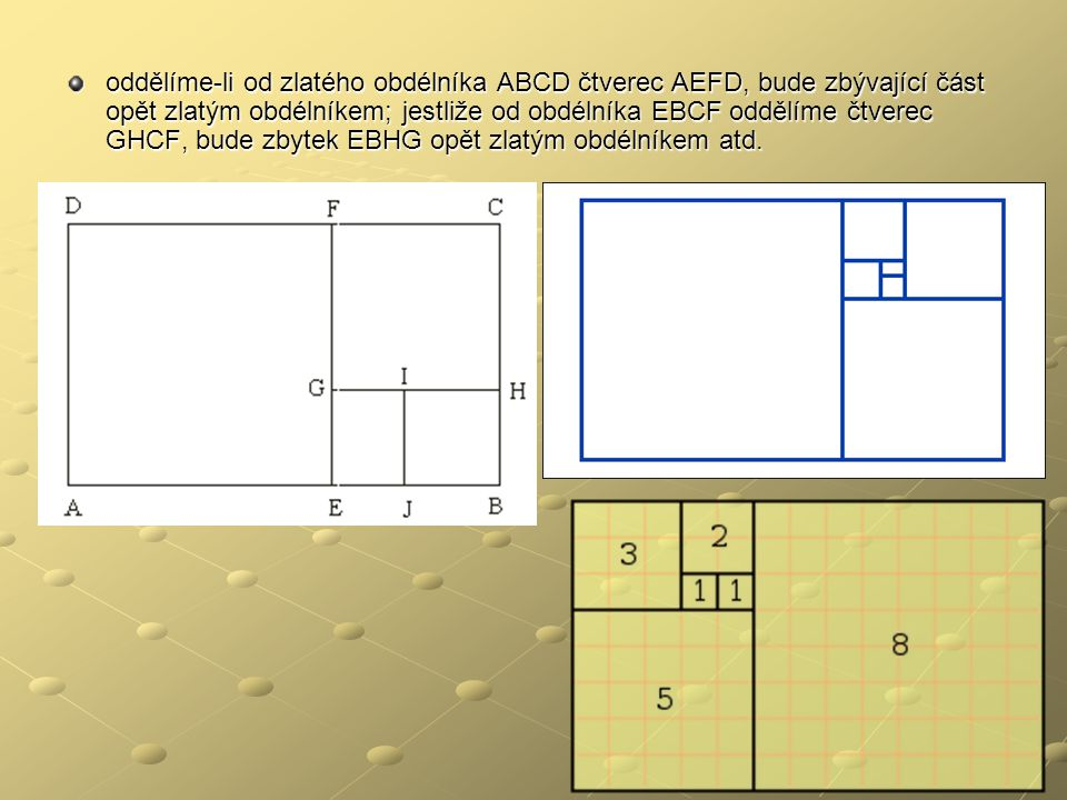 oddělíme-li od zlatého obdélníka ABCD čtverec AEFD, bude zbývající část opět zlatým obdélníkem; jestliže od obdélníka EBCF oddělíme čtverec GHCF, bude zbytek EBHG opět zlatým obdélníkem atd.