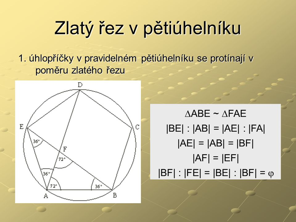 Zlatý řez v pětiúhelníku