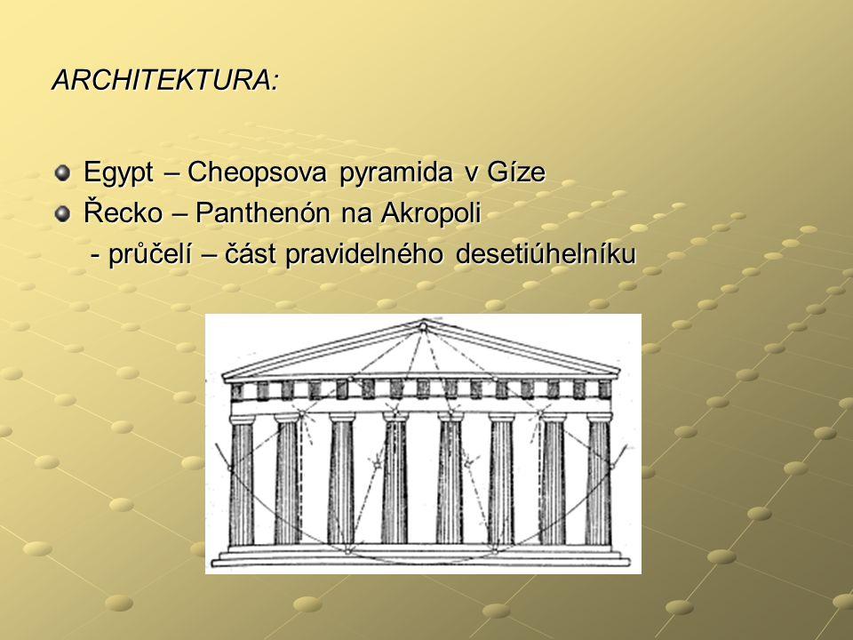 ARCHITEKTURA: Egypt – Cheopsova pyramida v Gíze. Řecko – Panthenón na Akropoli.