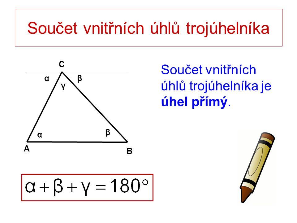 Součet vnitřních úhlů trojúhelníka