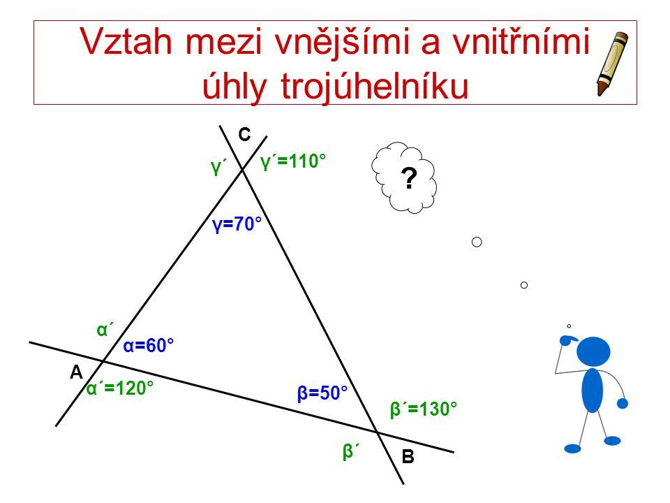 Vztah mezi vnějšími a vnitřními úhly trojúhelníku