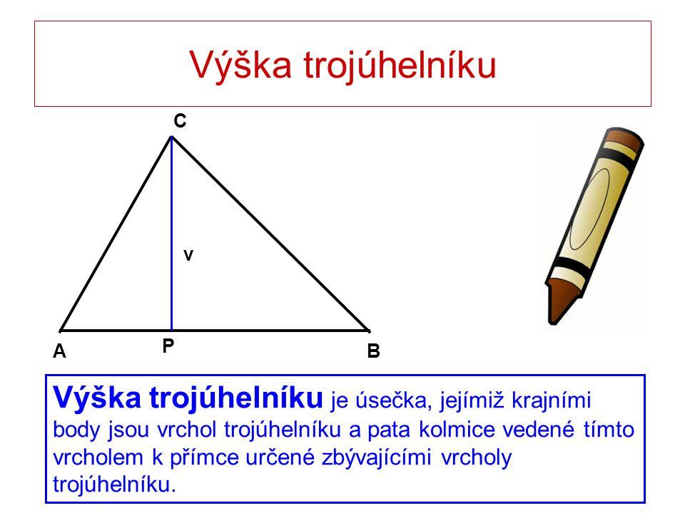 Výška trojúhelníku B. A. C. P. v.