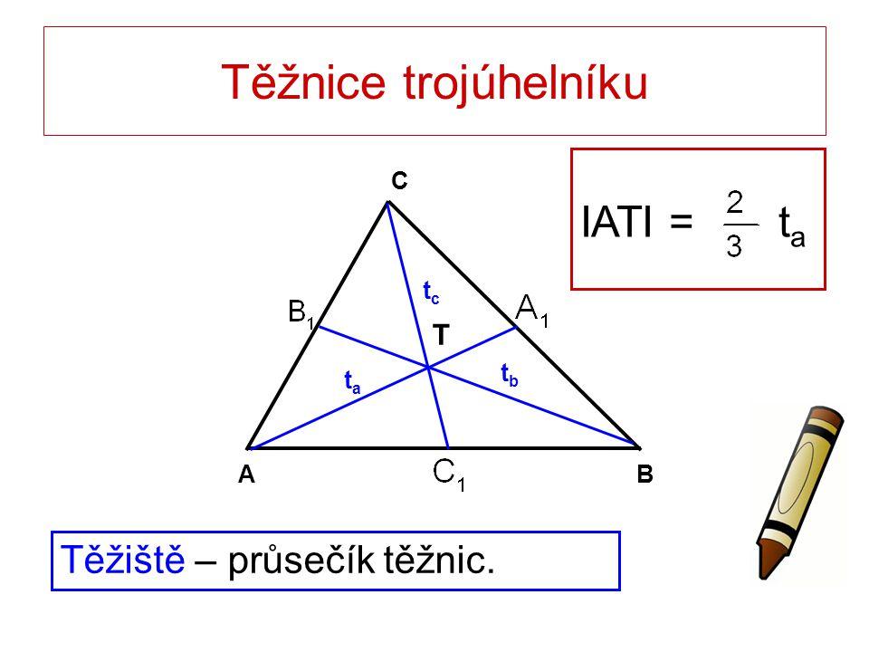 Těžnice trojúhelníku IATI = ta Těžiště – průsečík těžnic. T B A C tc