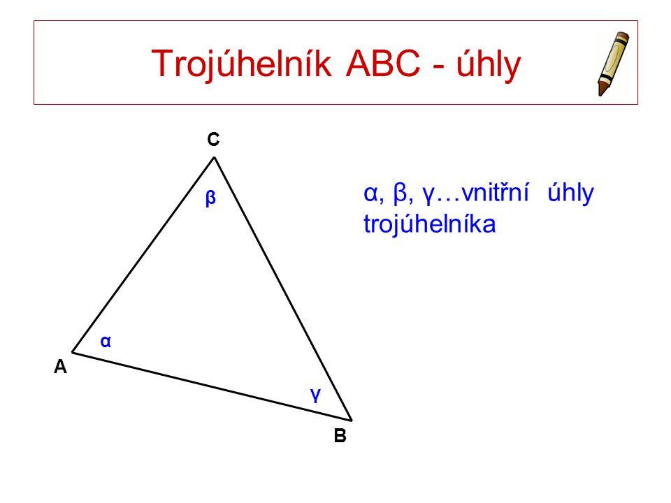Trojúhelník ABC - úhly C α, β, γ…vnitřní úhly trojúhelníka β α A γ B