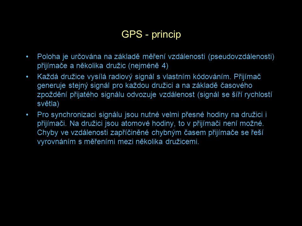GPS - princip Poloha je určována na základě měření vzdálenosti (pseudovzdálenosti) přijímače a několika družic (nejméně 4)
