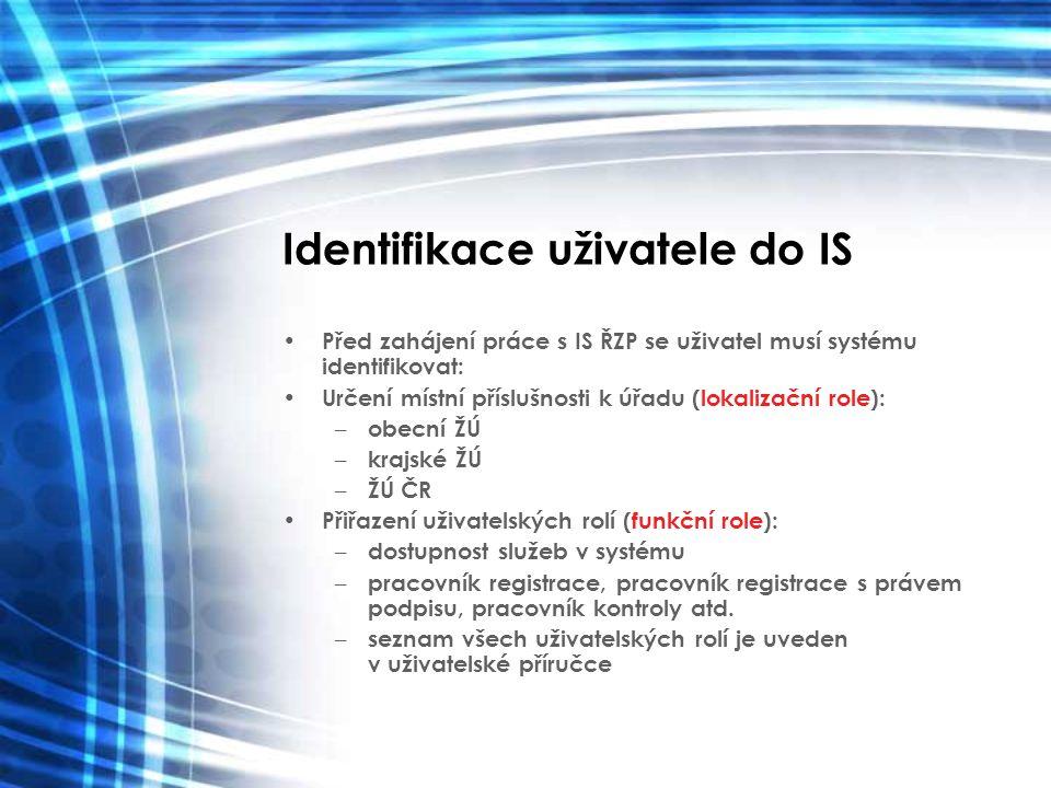 Identifikace uživatele do IS