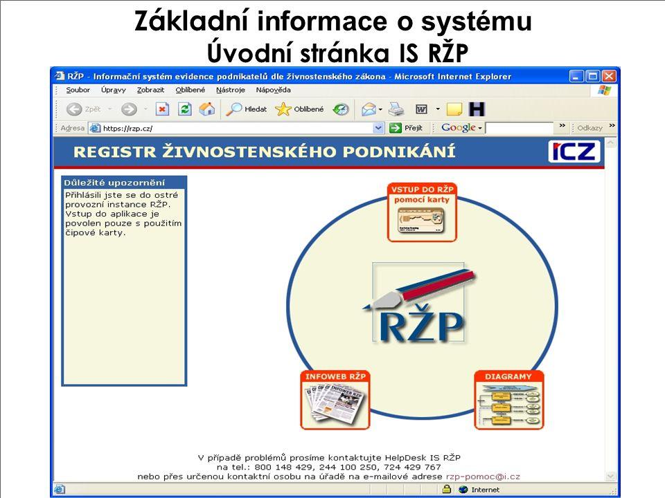 Základní informace o systému Úvodní stránka IS RŽP