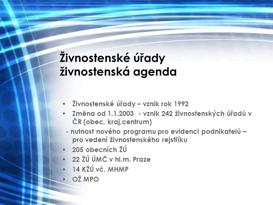 Živnostenské úřady živnostenská agenda