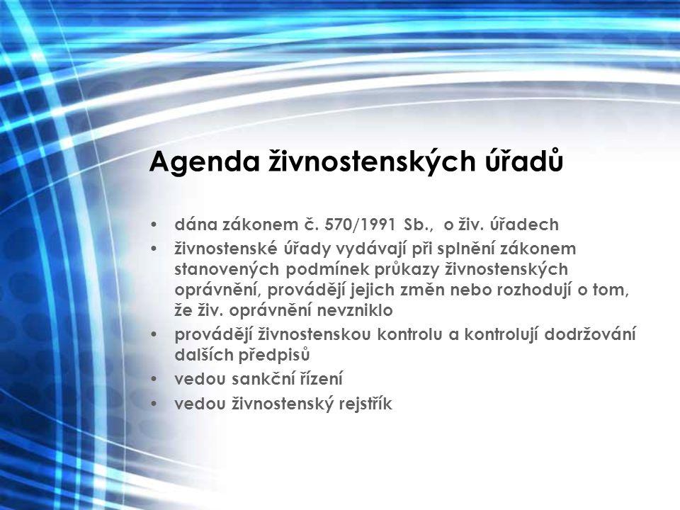 Agenda živnostenských úřadů